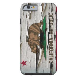 Cáscara de la pintura de la bandera de California Funda De iPhone 6 Tough