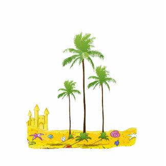 Cáscara del castillo de la arena de las palmas de  escultura fotográfica