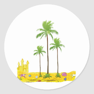 Cáscara del castillo de la arena de las palmas de pegatina redonda