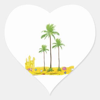 Cáscara del castillo de la arena de las palmas de pegatina en forma de corazón