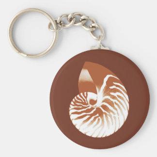 Cáscara del nautilus - marrón y blanco del cacao llavero personalizado