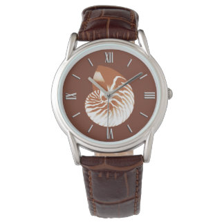 Cáscara del nautilus - marrón y blanco del cacao reloj