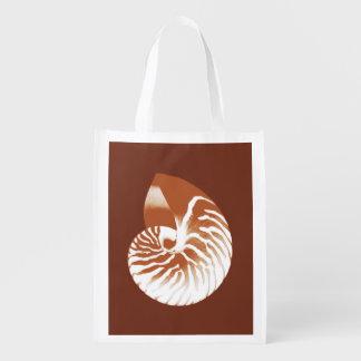 Cáscara del nautilus - marrón y blanco del cacao bolsas de la compra