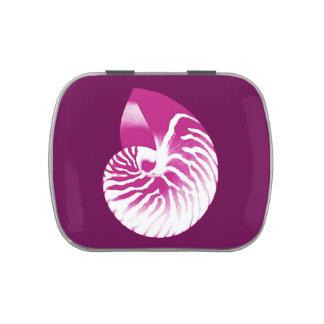 Cáscara del nautilus - púrpura y blanco de la latas de caramelos