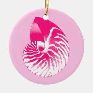 Cáscara del nautilus - rosado fucsia y blanco