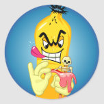 Cáscara malvada del plátano pegatina redonda