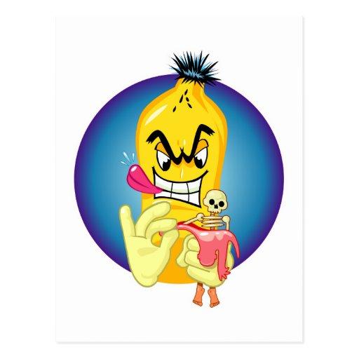 Cáscara malvada del plátano postales