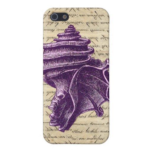 Cáscara púrpura en fondo de la letra del vintage iPhone 5 funda