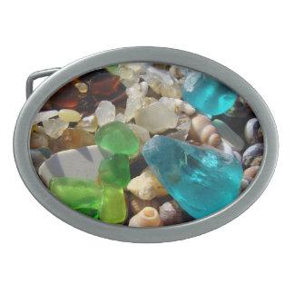 Cáscaras de cristal de las ágatas del mar de encar hebillas de cinturon ovales