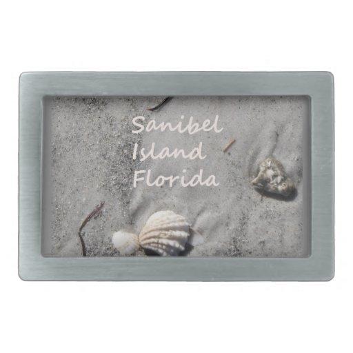 Cáscaras de la arena de la isla de Sanibel Hebilla De Cinturon Rectangular