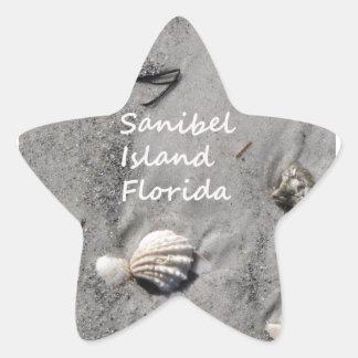 Cáscaras de la arena de la isla de Sanibel Pegatina En Forma De Estrella