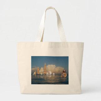Cáscaras de levantamiento en el mar bolsa tela grande
