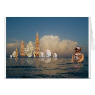 Cáscaras de levantamiento en el mar tarjeta de felicitación