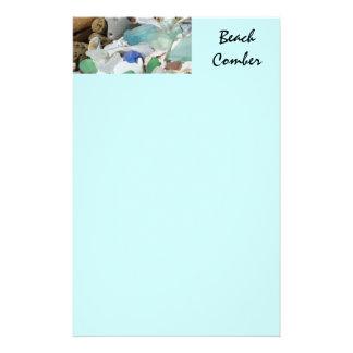 Cáscaras de Seaglass del verde azul de los efectos Papeleria Personalizada