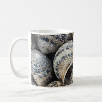 Cáscaras del caracol taza de café