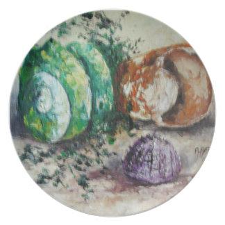 Cáscaras del mar de la pintura de Ana Hayes de la  Plato Para Fiesta