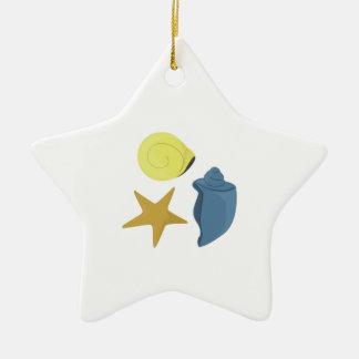 Cáscaras del mar adorno de cerámica en forma de estrella