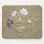 Cáscaras del mar en la arena Mousepad Alfombrillas De Ratón