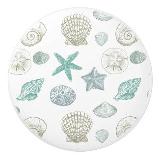 Cáscaras del mar pomo de cerámica