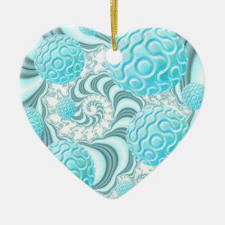 Cáscaras divinas del mar, playa en colores pastel adorno de cerámica en forma de corazón
