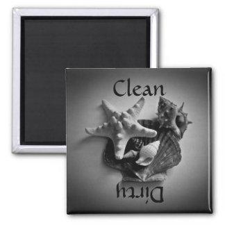 Cáscaras en imán limpio o sucio blanco y negro