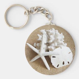 Cáscaras en la arena llavero personalizado