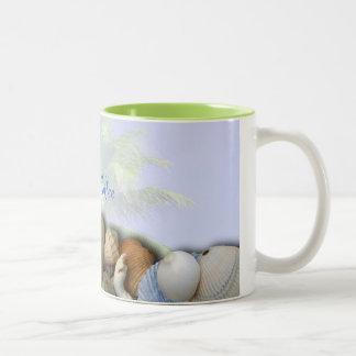 Cáscaras personalizadas de la playa, taza de café
