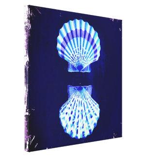 cáscaras románticas del mar del vintage del azul lona estirada galerías