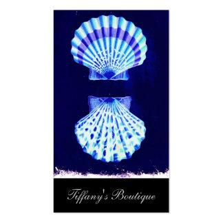 cáscaras románticas del mar del vintage del azul tarjeta de negocio