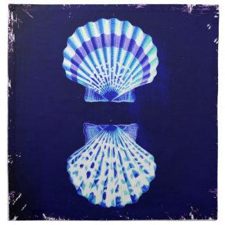 cáscaras rústicas del mar del vintage del azul de servilleta