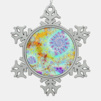 Cáscaras violetas de oro del mar, océano abstracto adorno de peltre en forma de copo de nieve
