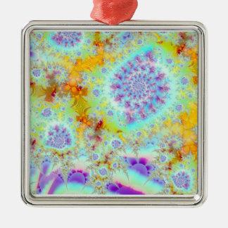 Cáscaras violetas de oro del mar, océano abstracto adorno cuadrado plateado