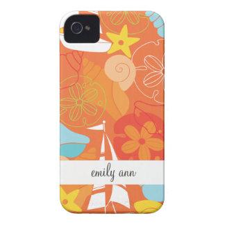 Cáscaras y barcos del mar en modelo anaranjado iPhone 4 Case-Mate fundas
