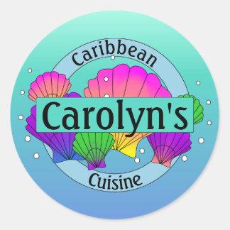 Cáscaras y burbujas del Caribe del mar de la Pegatina Redonda