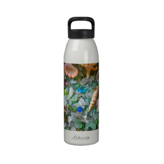 Cáscaras y vidrio de la playa botellas de agua reutilizables