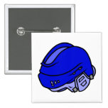 Casco azul del hockey pins