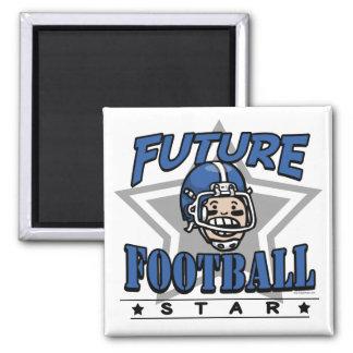 Casco azul futuro de la estrella de fútbol imán cuadrado