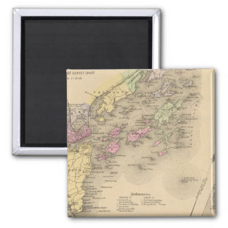 Casco Bay Map 2 Inch Square Magnet