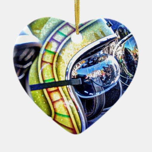 Casco clásico de la motocicleta ornamentos de navidad