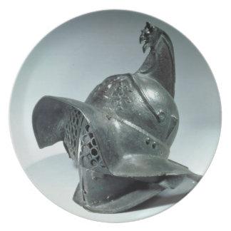 Casco de bronce del gladiador de Thracian, romano, Plato
