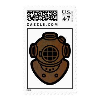 Casco de cobre amarillo del salto sello postal