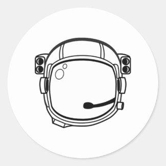 Casco de espacio del astronauta pegatina redonda
