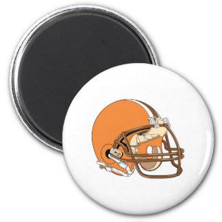Casco de fútbol americano anaranjado imán redondo 5 cm