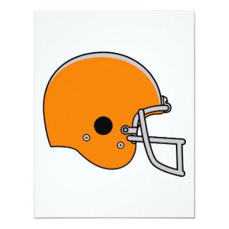 """Casco de fútbol americano anaranjado invitación 4.25"""" x 5.5"""""""
