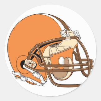 Casco de fútbol americano anaranjado pegatina redonda