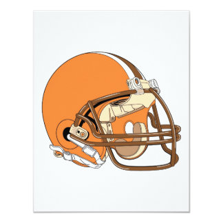 """Casco de fútbol americano anaranjado y marrón invitación 4.25"""" x 5.5"""""""