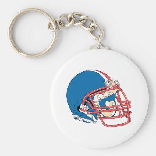 Casco de fútbol americano azul y rojo llaveros personalizados