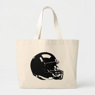 Casco de fútbol americano blanco negro del arte bolsa tela grande