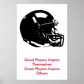 Casco de fútbol americano blanco negro inspirado póster