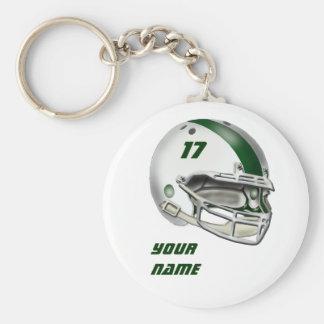 Casco de fútbol americano blanco y verde oscuro llaveros personalizados